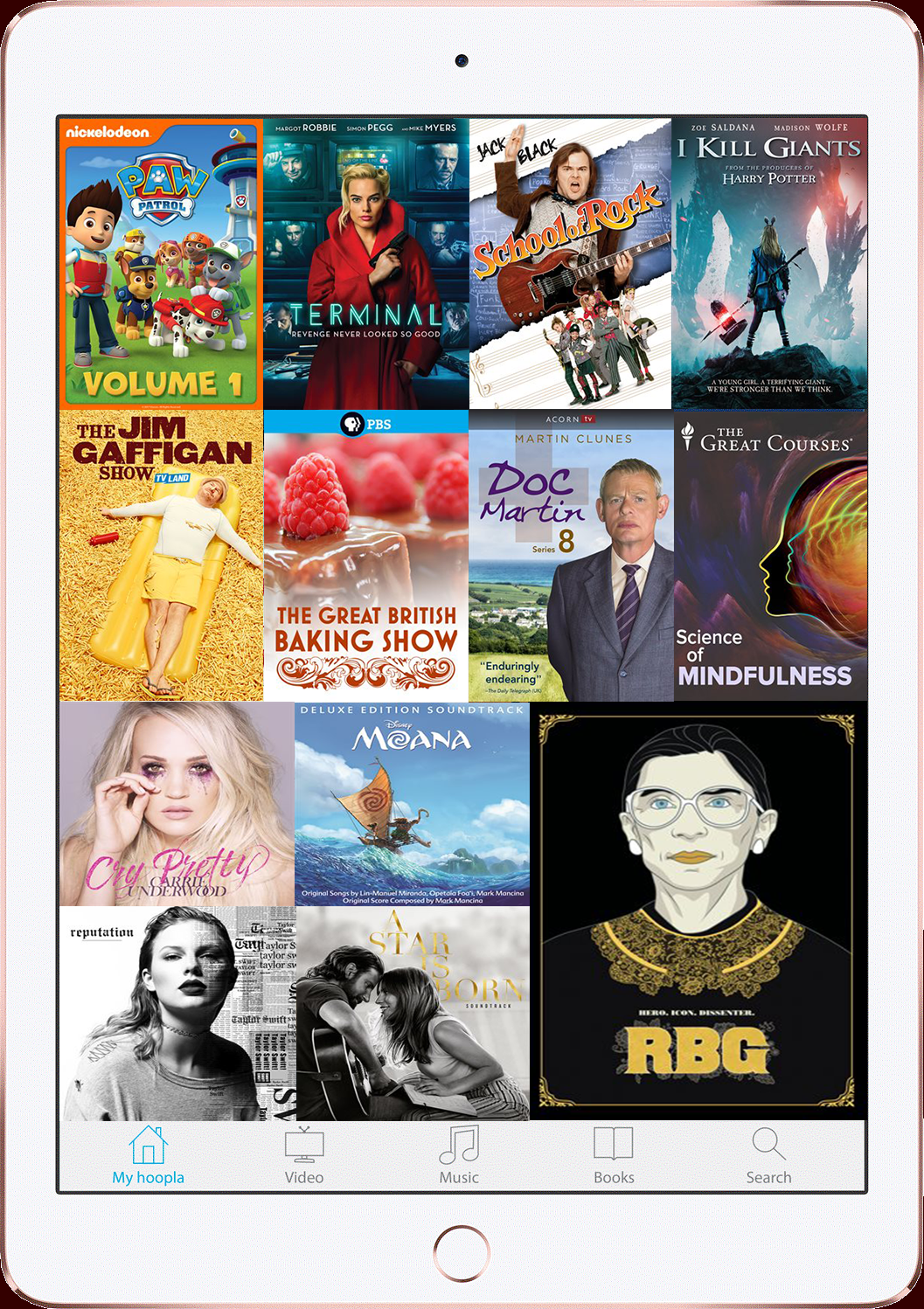 a picture of an iPad with movie, television show, and music album images in a collage on the screen