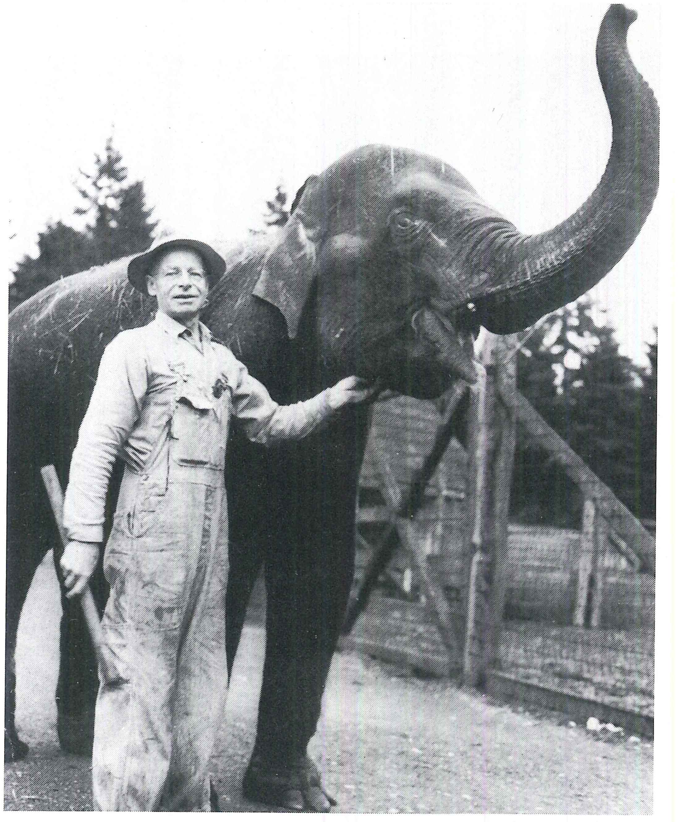 Rosie the Elephant Poses With Al Weis