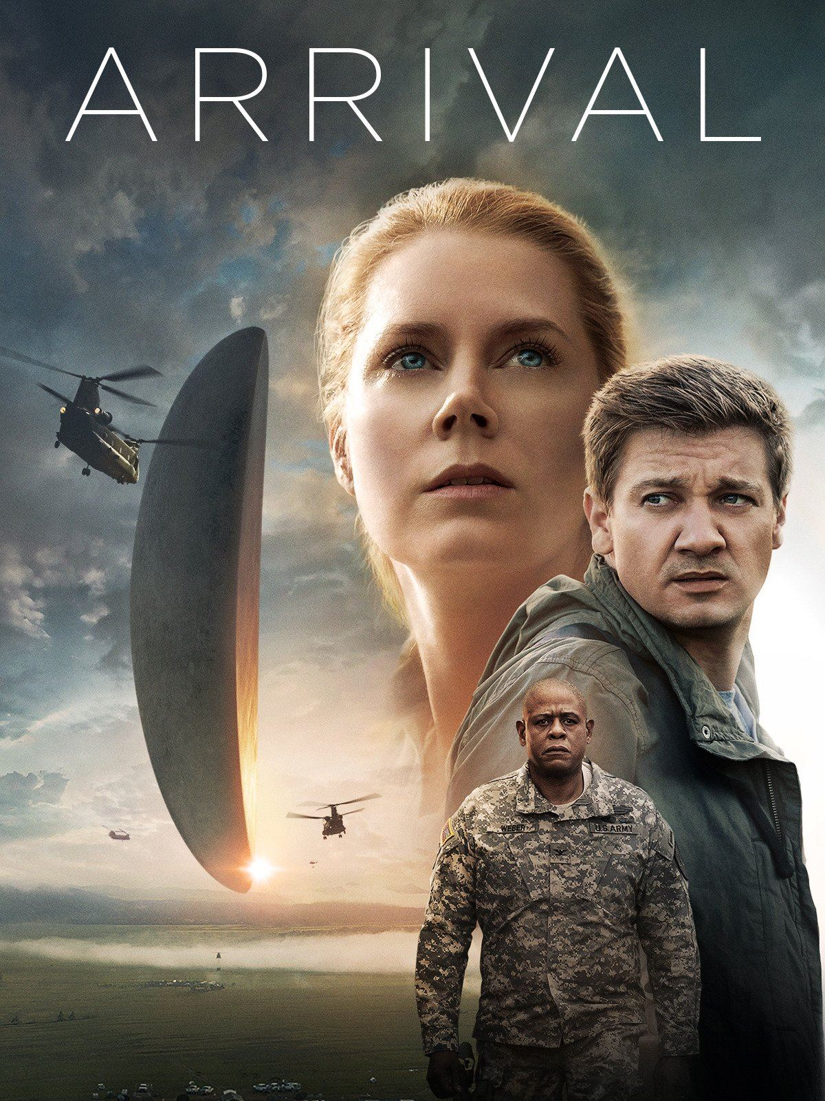 Image of the DVD cover of the movie Arrival showing woman and two men and strange spacecraft