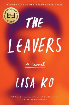 Book cover of The Leavers by Lisa Ko showing blurred face on red backcround