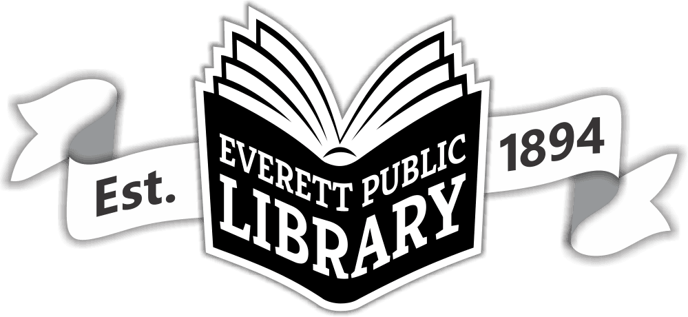 "Everett Public Library book logo with a ribbon graphic and the words ""Established 1984"""