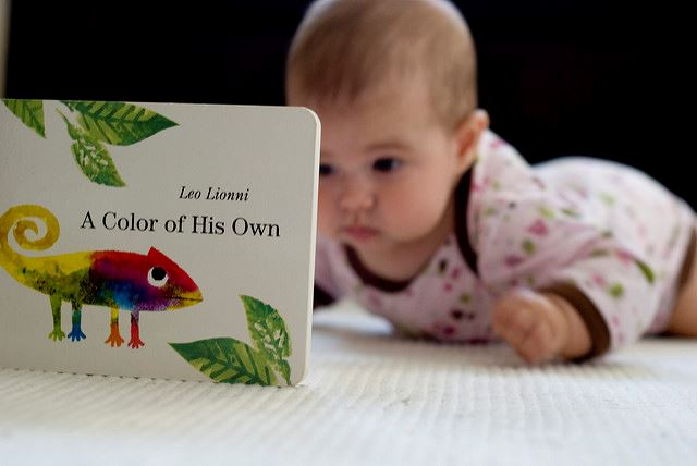 Photograph of Baby studying a book