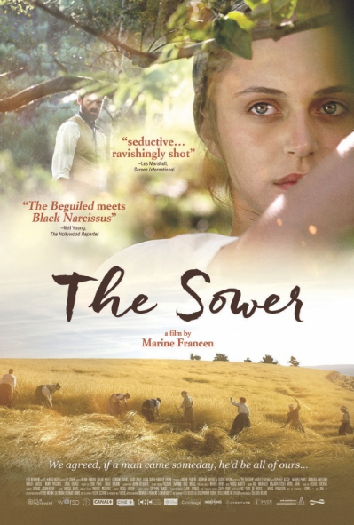 Cover art of DVD for The Sower showing young blond woman looking through branches while man passes i