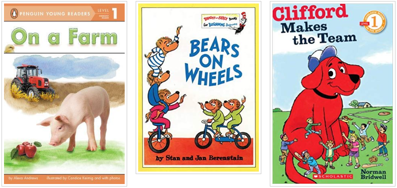 Three Books - On a Farm and Bears on Wheels and Clifford Makes the Team