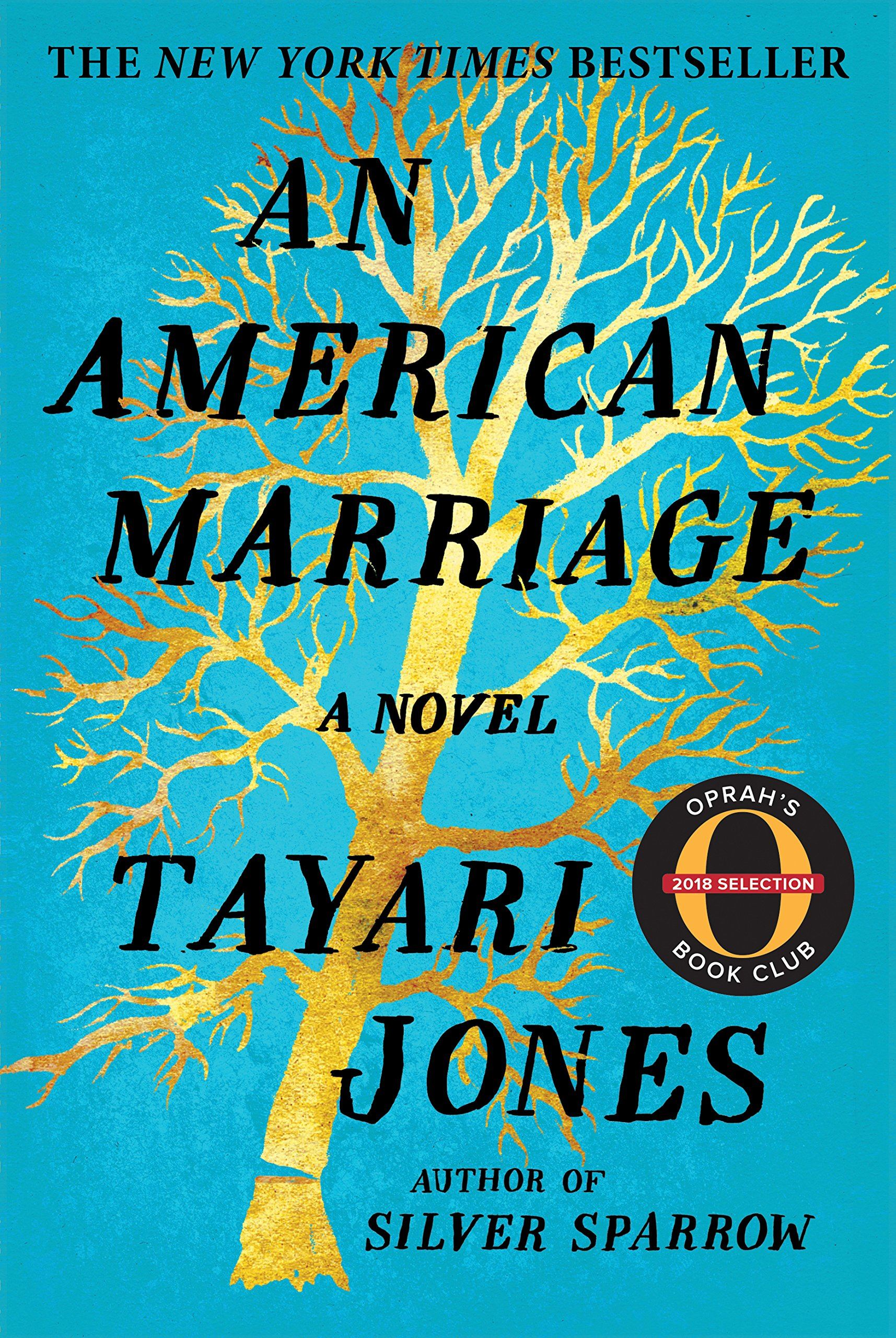 Image of book cover of An American Marriage by Tayari Jones with a turquoise background & gold tree