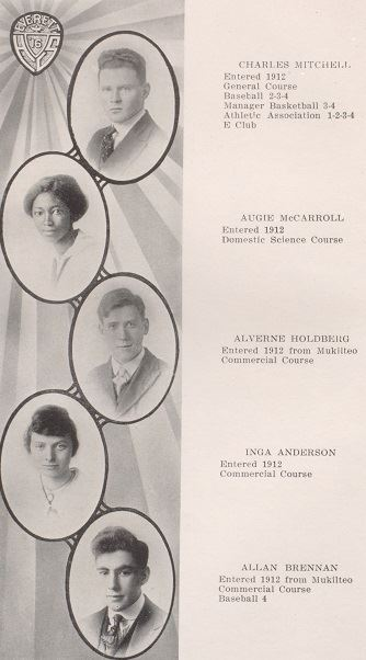 1916 Nesika yearbook page with four cameo portraits of students on left and descriptive text on righ