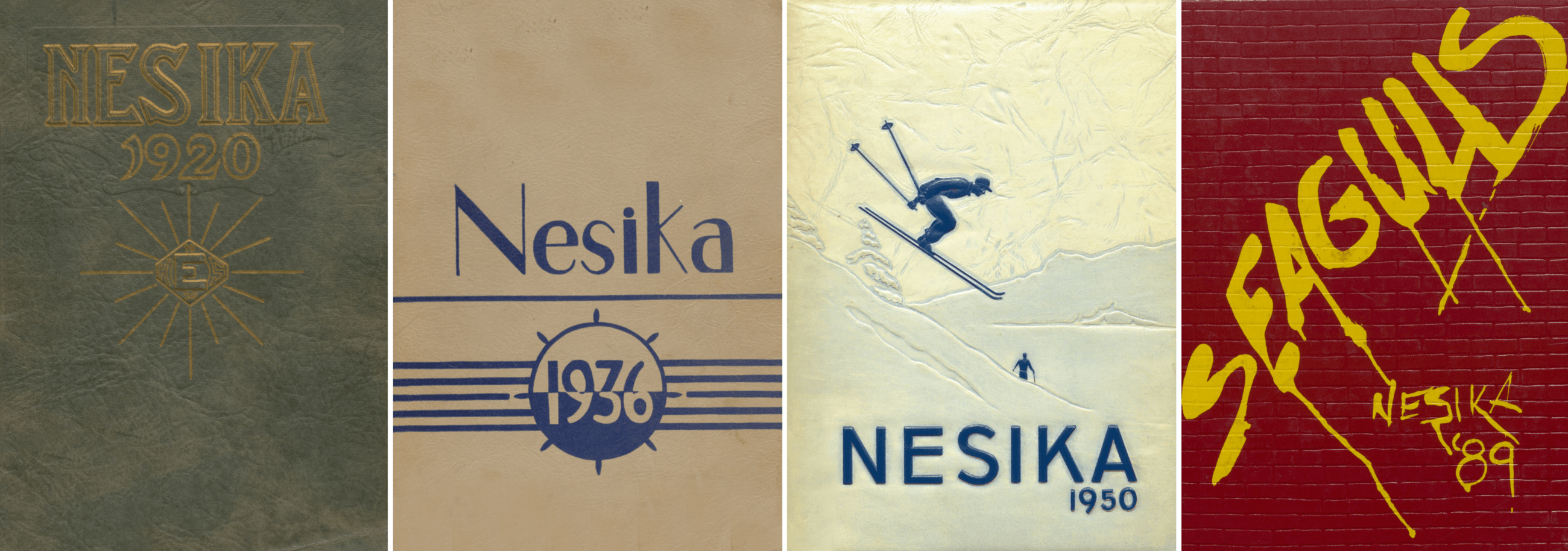 covers of Nesika yearbooks from 1920, 1936, 1950, and 1989