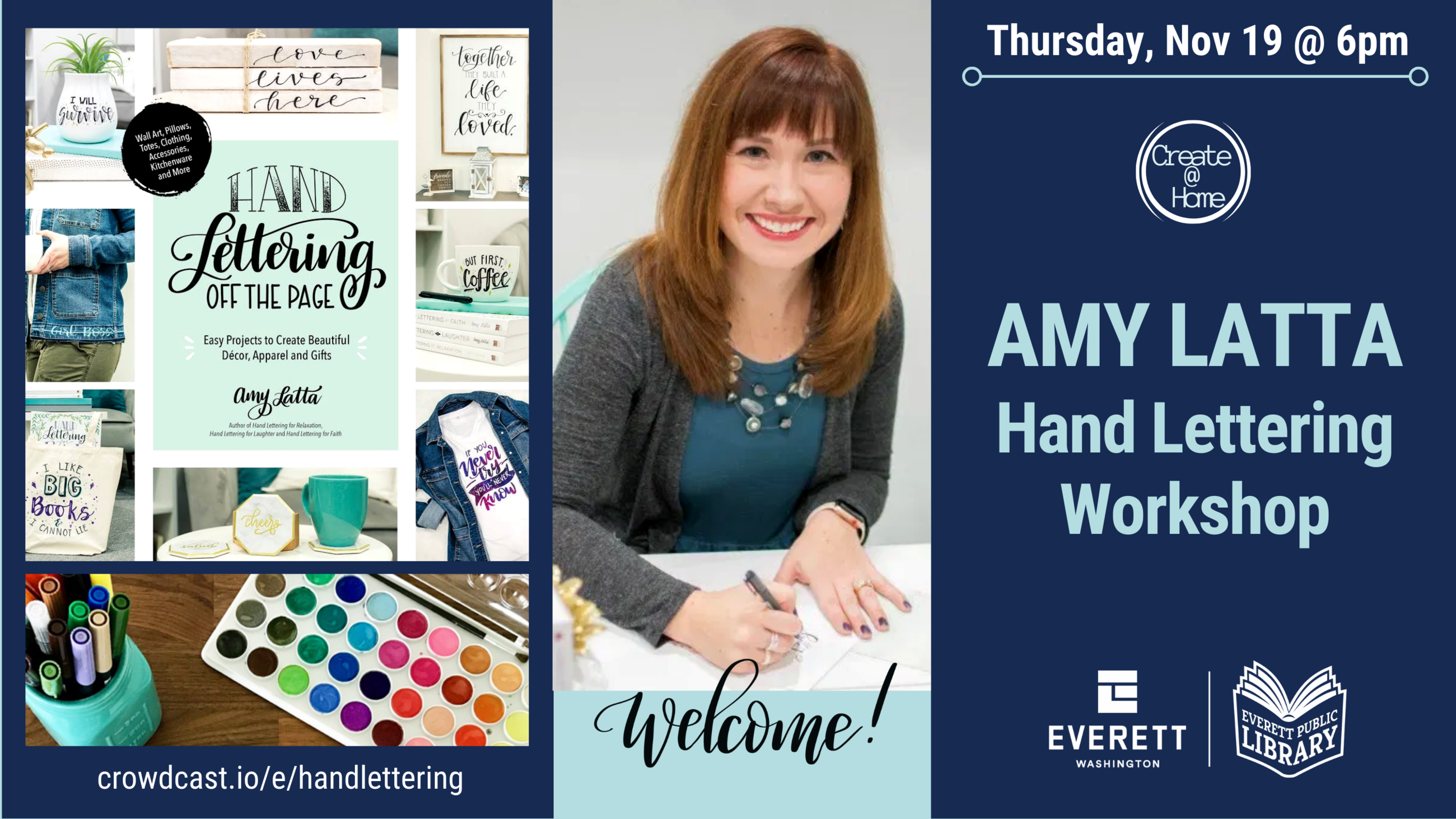 Graphic for event with blue background showing book cover and photo of Amy Latta painting lettering