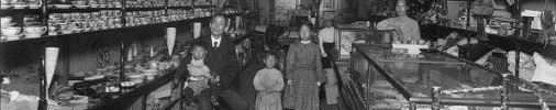 1907 photo of family posing in Japan Bazaar at 1410 Hewitt