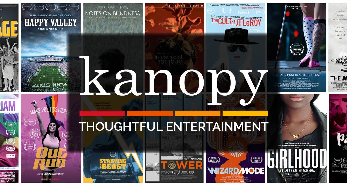 Kanopy logo with words 'Thoughtful Entertainment' below it and with movie posters for independ