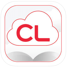 red and white logo for cloudLibrary app Opens in new window