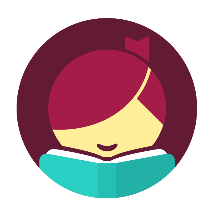 maroon and teal logo for the Libby app