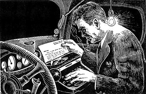 Linocut-style image of a man hunched over a typewriter in the front passenger seat of a car. It appe