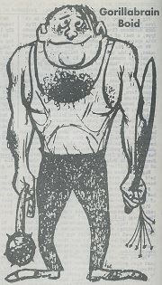 Black and white cartoon of a very muscular man in a sleeveless top and black pants. This man has lot